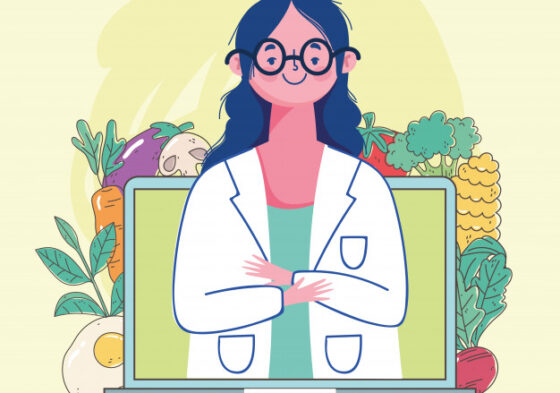 Female-dietitian-doctor-video-laptop-fresh-market-organic-healthy-food-with-fruits-vegetables-illustration_24640-63739